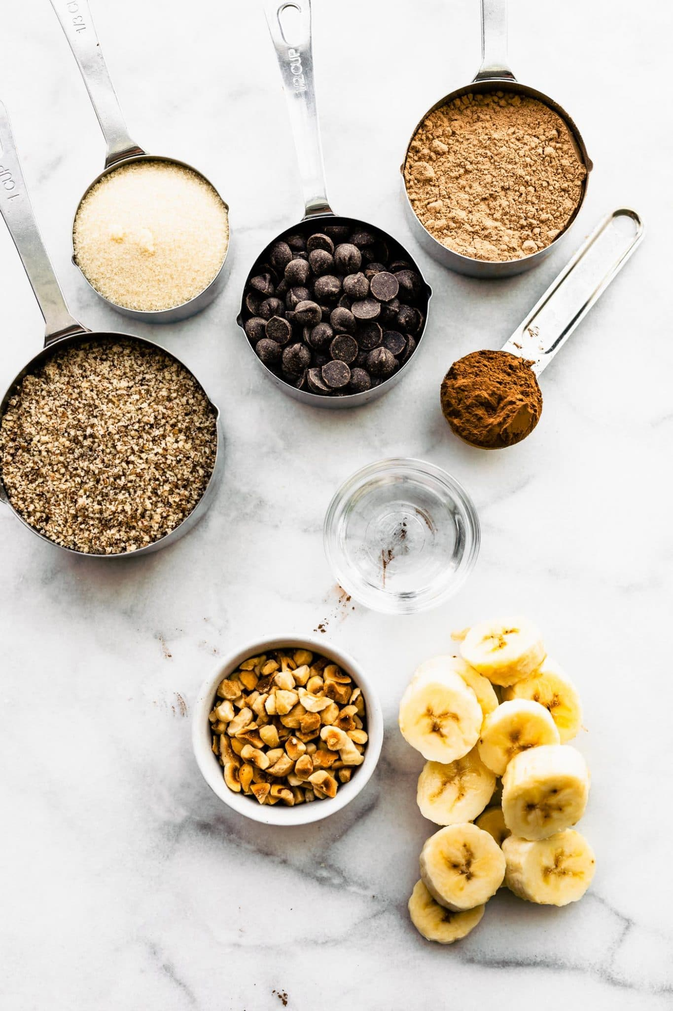 Overhead image of ingredients for protein banana chocolate cookies.