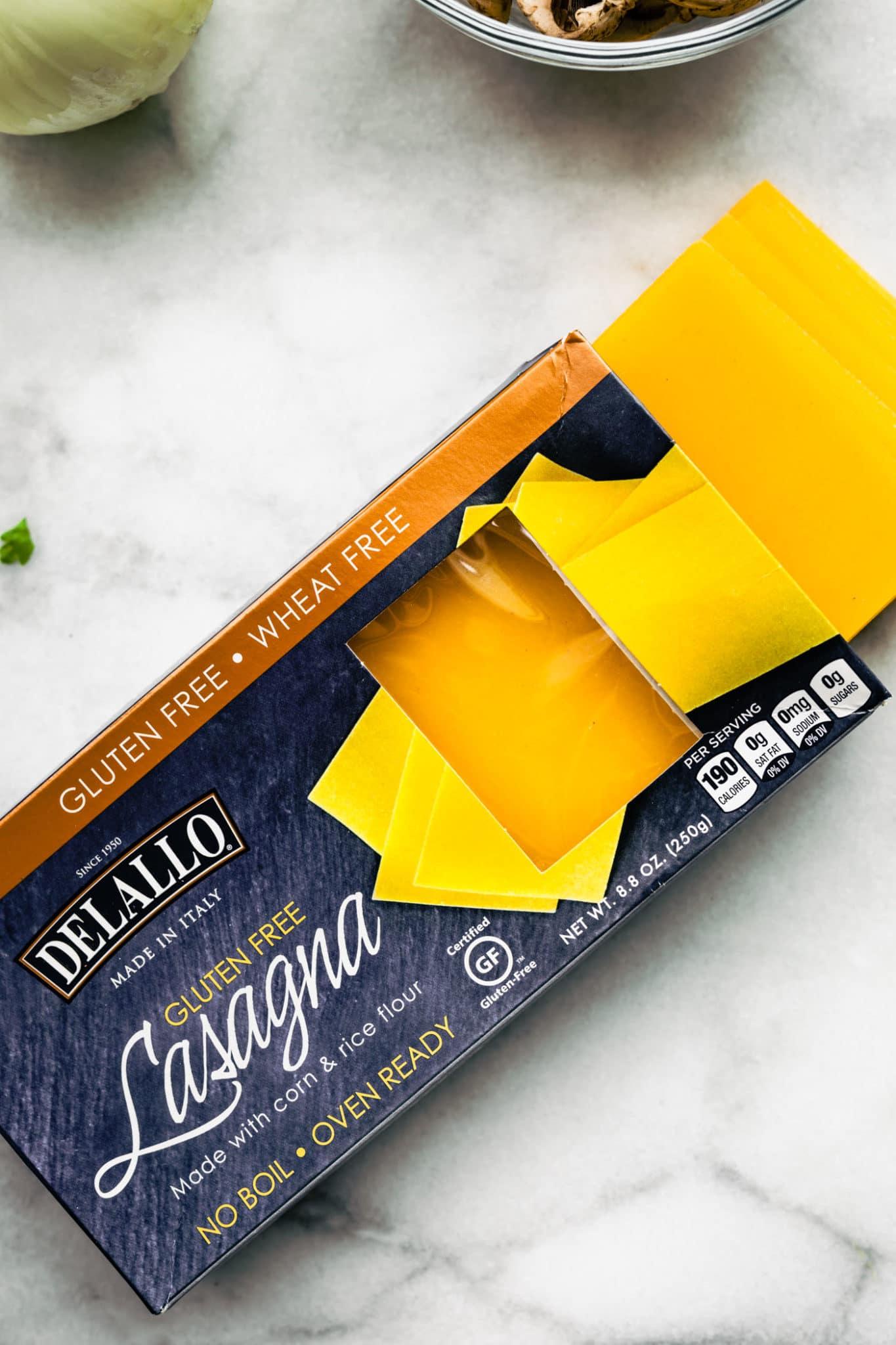 box of DeLallo gluten-free no boil lasagna noodles