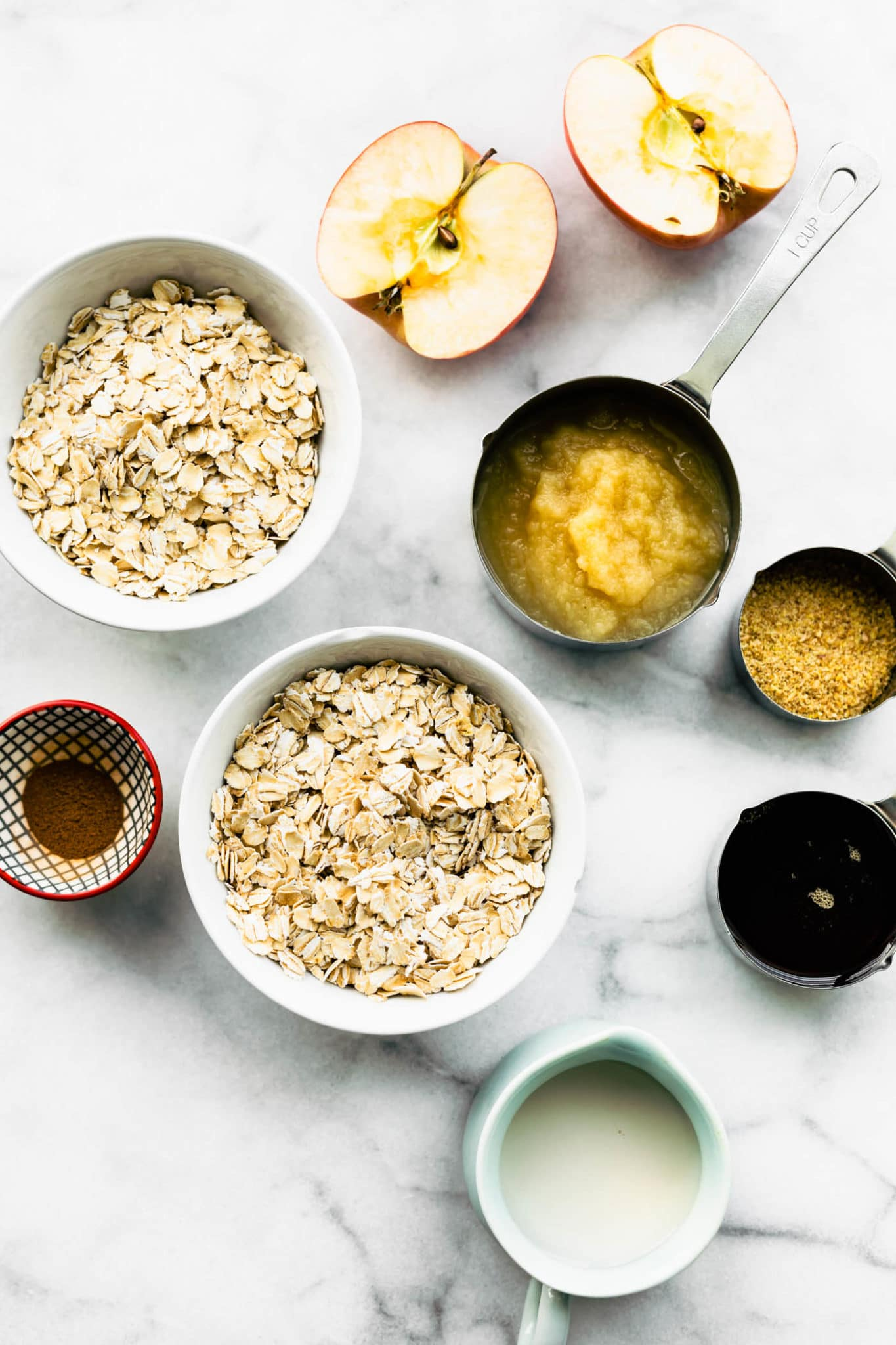 ingredients for gluten free apple oatmeal muffins on a counter