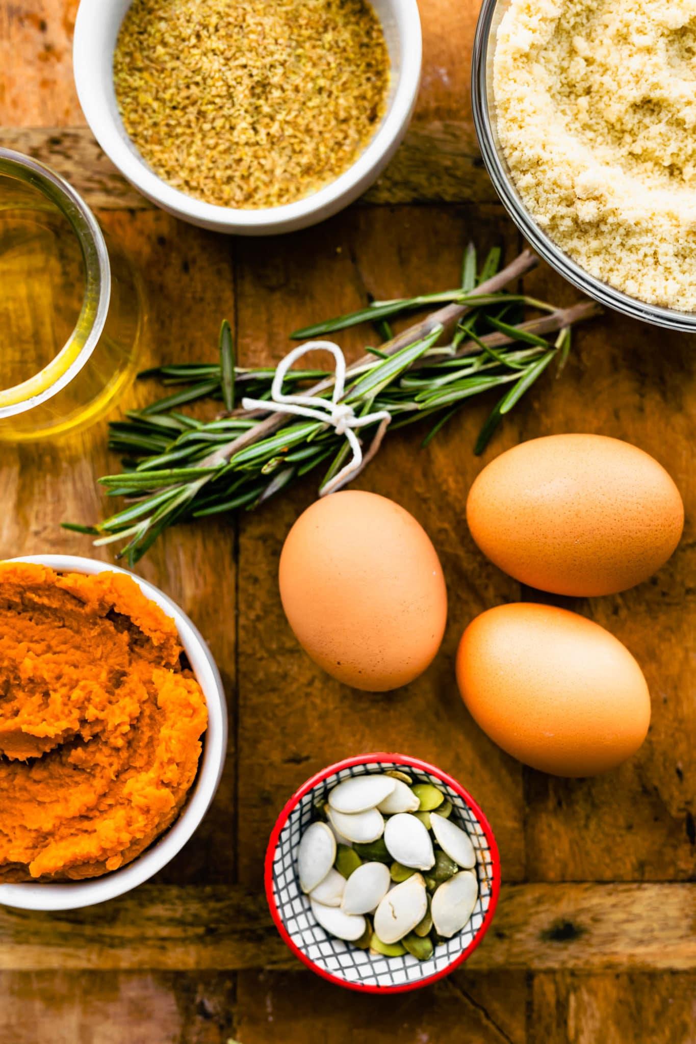 ingredients for paleo pumpkin rosemary bread