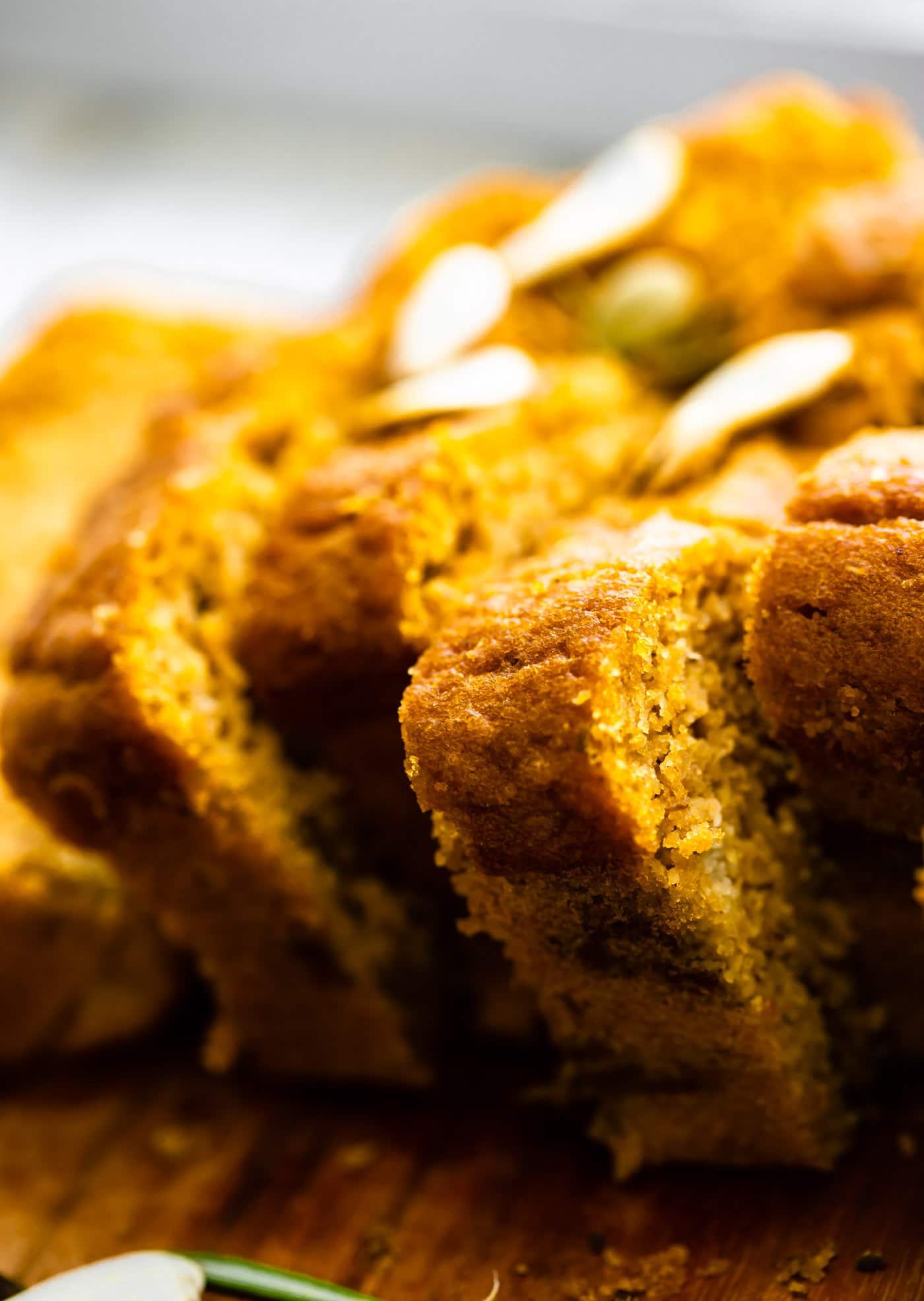 Close up image of almond flour pumpkin bread slices