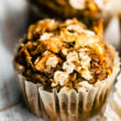 gluten free applesauce muffin with oat topping