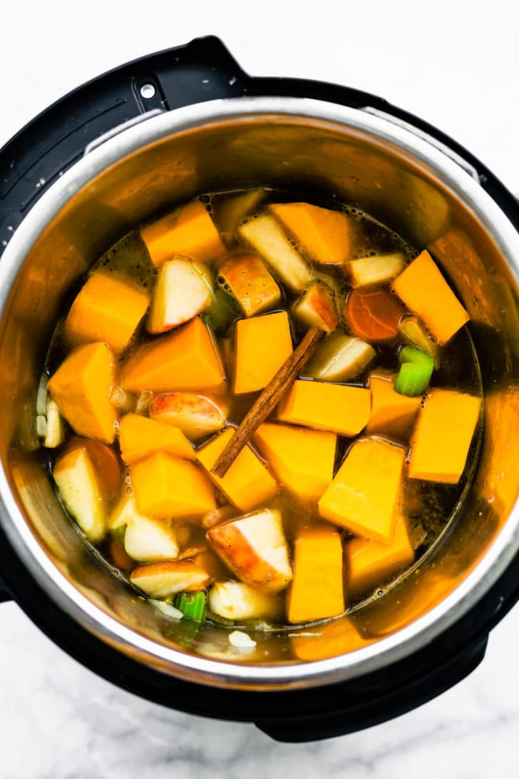butternut squash soup ingredients in an instant pot