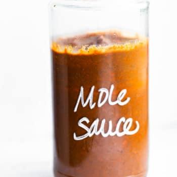 Homemade mole sauce in a glass jar